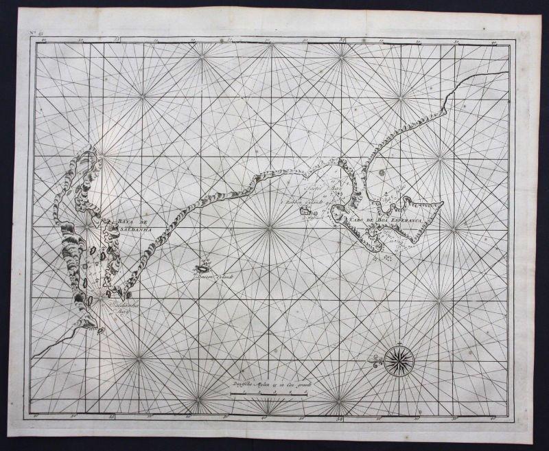 1726 South Africa Saldanha Bay Cape of Good Hope sea chart map Valentijn