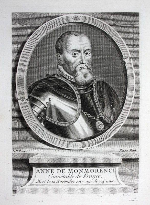 18. Jh. Anne de Montmorency Herzog Duc Marechal Marschall Kupferstich Portrait