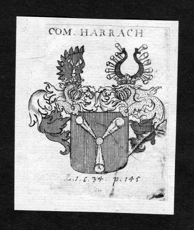 1750 - Harrach Wappen Adel coat of arms heraldry Heraldik Kupferstich