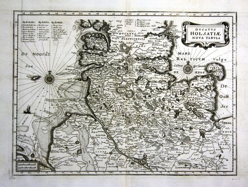 1734 Hamburg Lübeck Flensburg Kiel Karte map Kupferstich antique print Merian