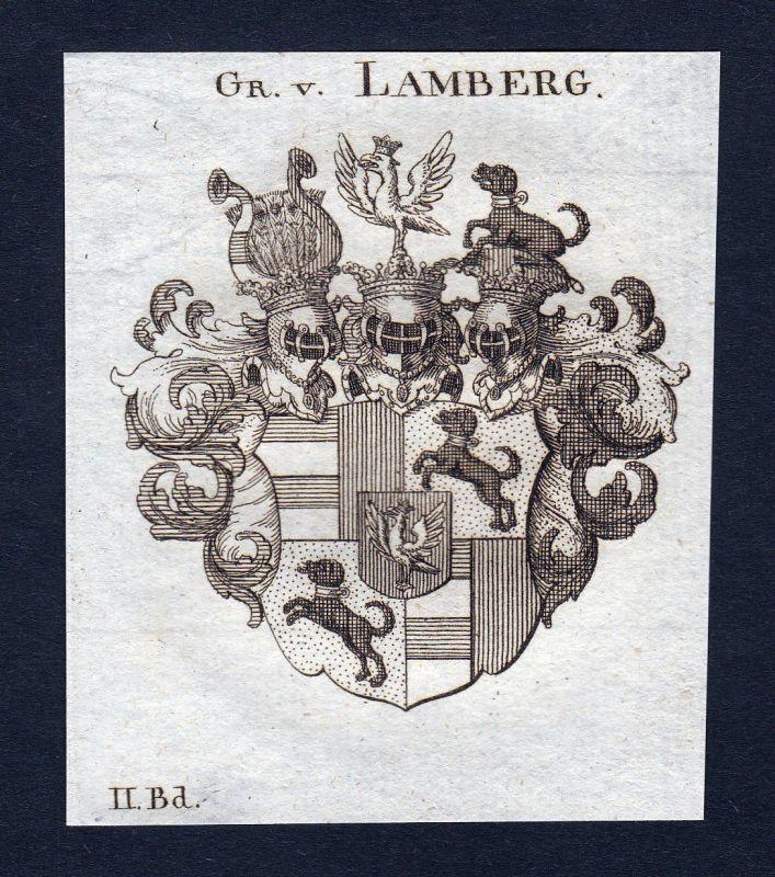 Ca. 1820 Lamberg Wappen Adel coat of arms Kupferstich antique print heraldry