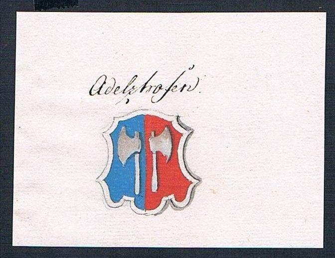 18. Jh. Adelshofen Wappen Handschrift Manuskript manuscript coat of arms