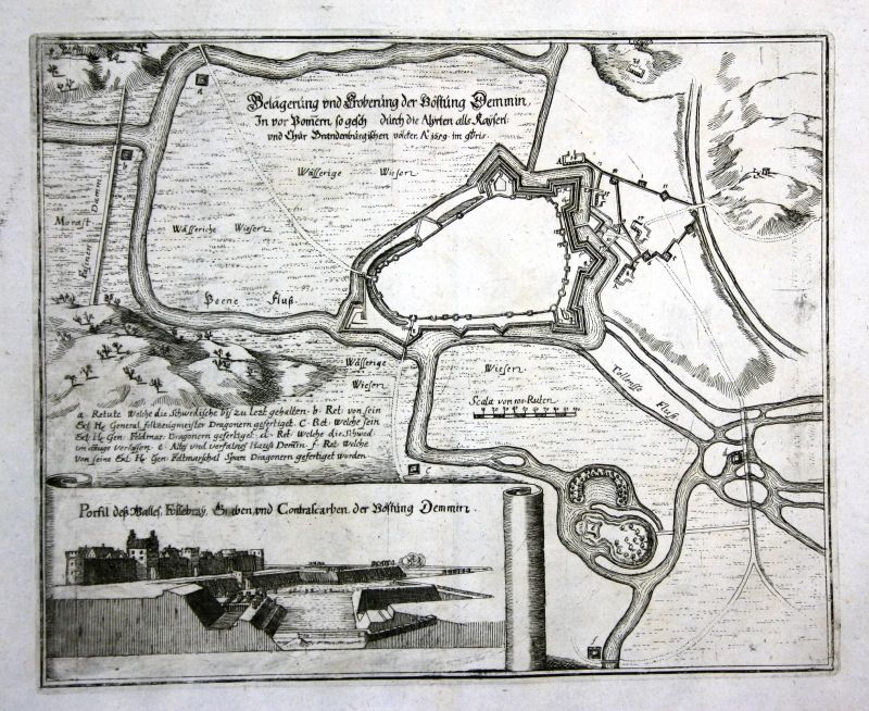 1693 Demmin Brandenburg Ansicht Karte map Plan Kupferstich antique print Merian
