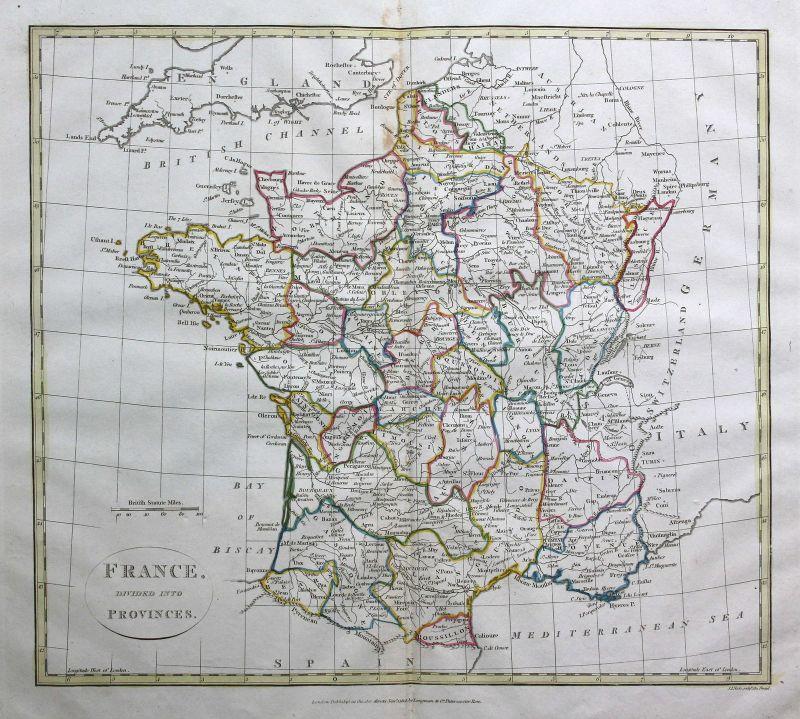 1808 Frankreich France Paris Toulouse Karte map Kupferstich antique print