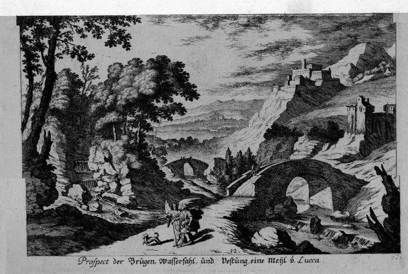 1680 - Lucca Toscana Italia incisione Kupferstich acquaforte veduta