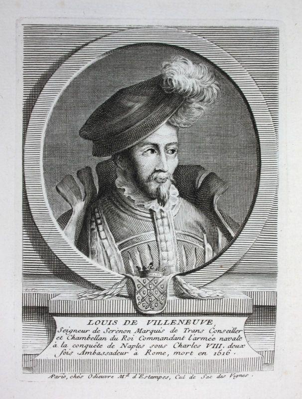 18. Jh. Louis de Villeneuve seigneur de Serenon Kupferstich Portrait engraving