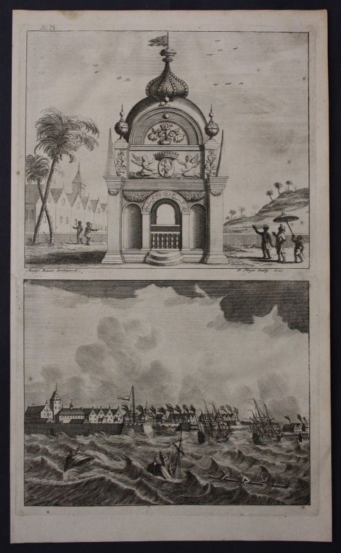 1726 Nagapattinam India Coromandel coast map engraving view Valentijn Asia