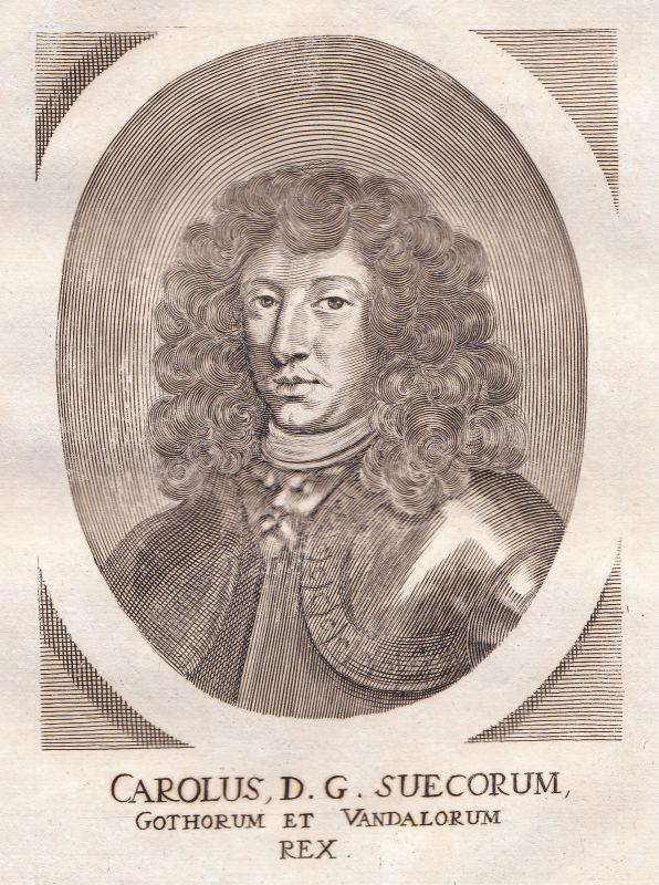 1650 Karl Gustav Sverige Sweden kung Potrait Kupferstich antique print Merian