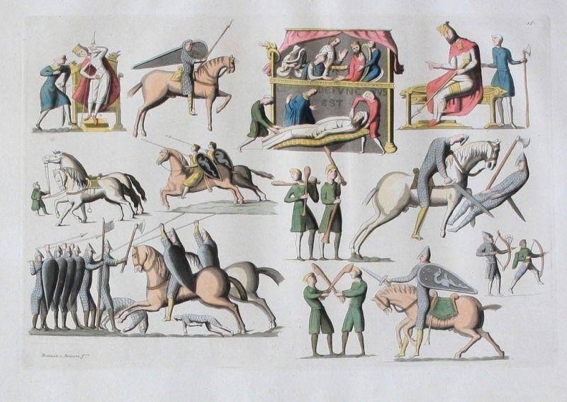 1825 - Soldaten Militaria Mittelalter Aquatinta aquatint antique print