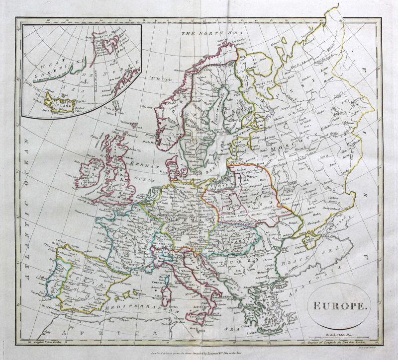 1808 Europa Europe Spanien Spain Frankreich France Karte carte map Kupferstich