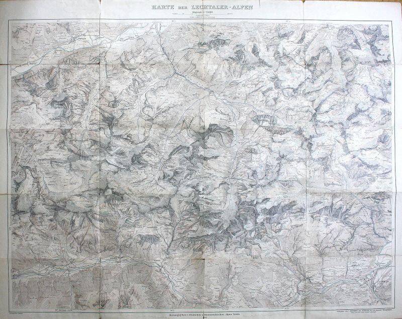 1911 Lechtaler Alpen 1:25000 Karte Kalkalpen Alpen Österreich