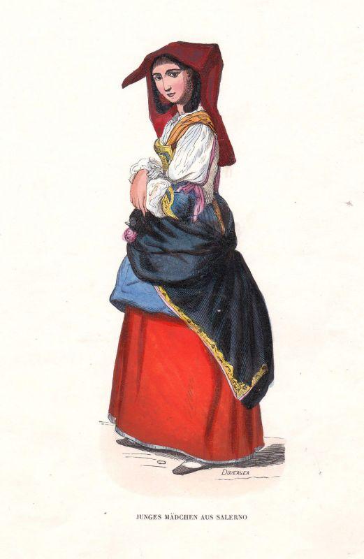 1840 Salerno Mädchen girl Italien Italy Italia Tracht Trachten costumes Grafik