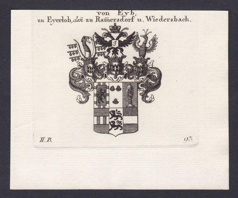 Eyb Eyerloh Rammersdorf Wiedersbach Wappen coat arms Kupferstich antique print