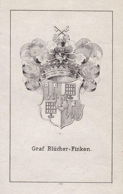 Ca. 1840 Blücher Mecklenburg Finken Wappen heraldry Heraldik coat of arms Adel