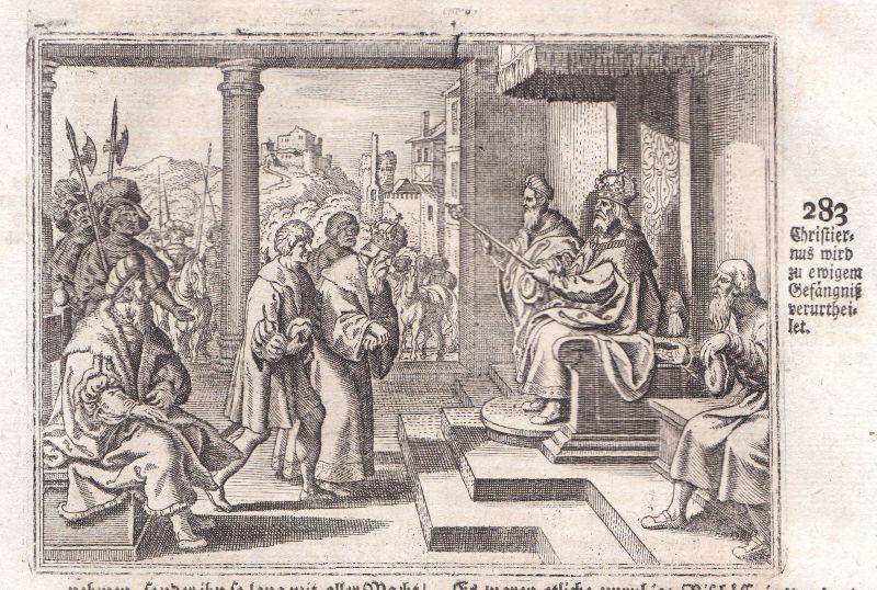 Ca. 1700 Christian Denmark Danmark konge Kupferstich antique print Merian