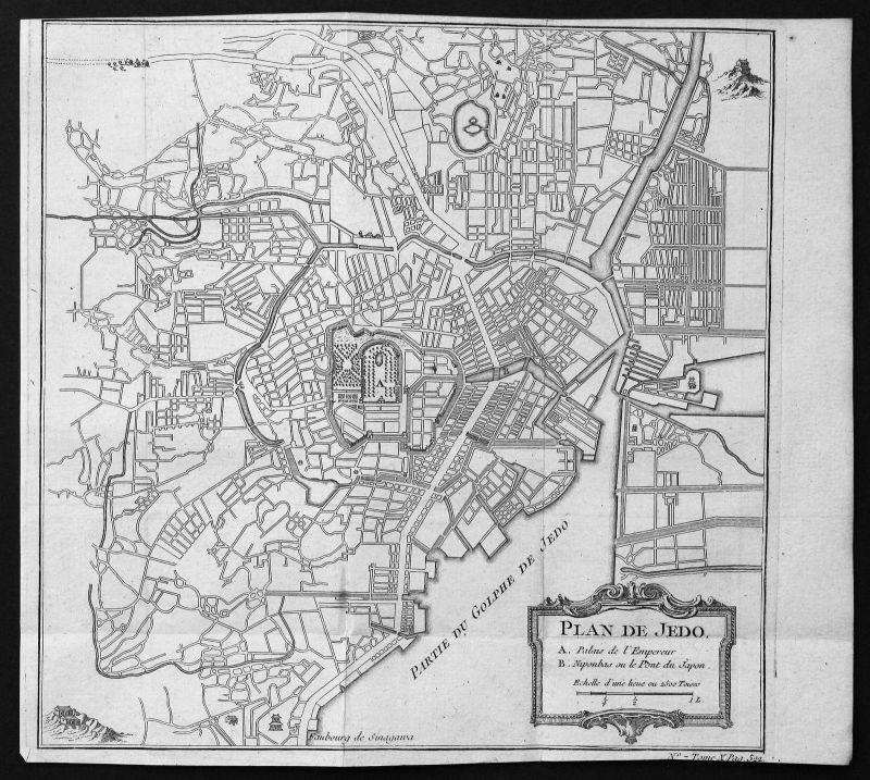Ca. 1750 Tokio Tokyo Japan Plan Karte map Kupferstich antique print Bellin
