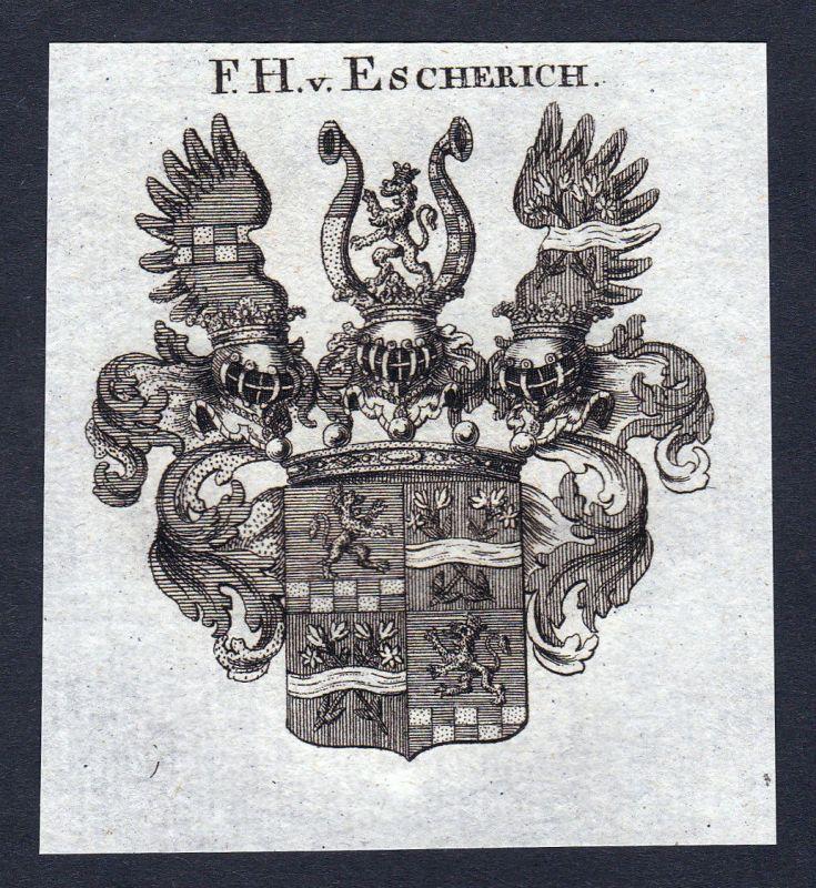 Ca. 1820 Escherich Wappen Adel coat of arms Kupferstich antique print her 144652