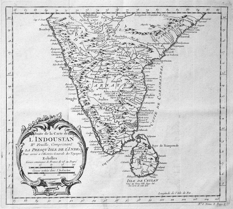 Ca. 1750 India Indien Sri Lanka Karte map Kupferstich antique print Bellin