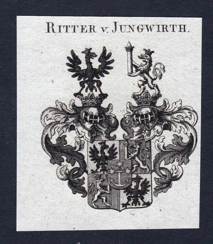 Ca. 1820 Jungwirth Wappen Adel coat of arms Kupferstich antique print her 144741