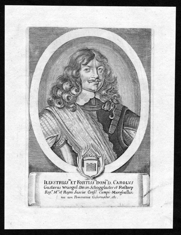 Ca. 1690 Carl Gustav Wrangel Sverige Sweden Portrait Kupferstich antique print
