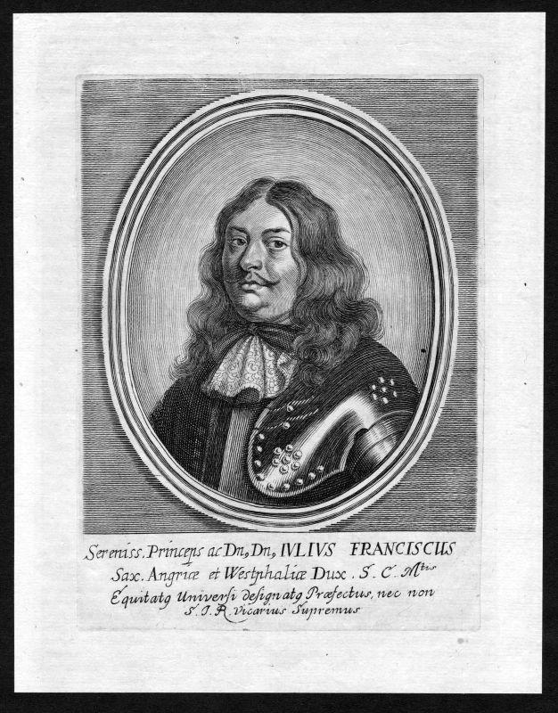 Ca. 1690 Julius Franz Sachsen-Lauenburg Portrait Kupferstich antique print