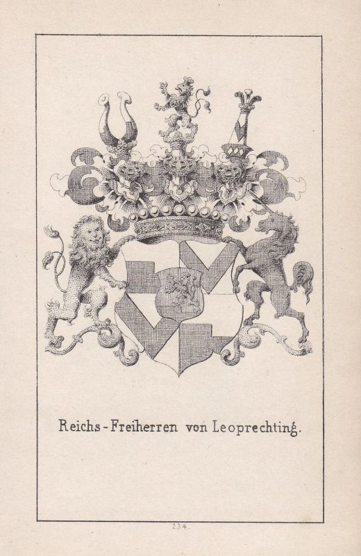 1840 Leoprechting Bayern Bavaria Wappen heraldry Heraldik coat of arms Adel