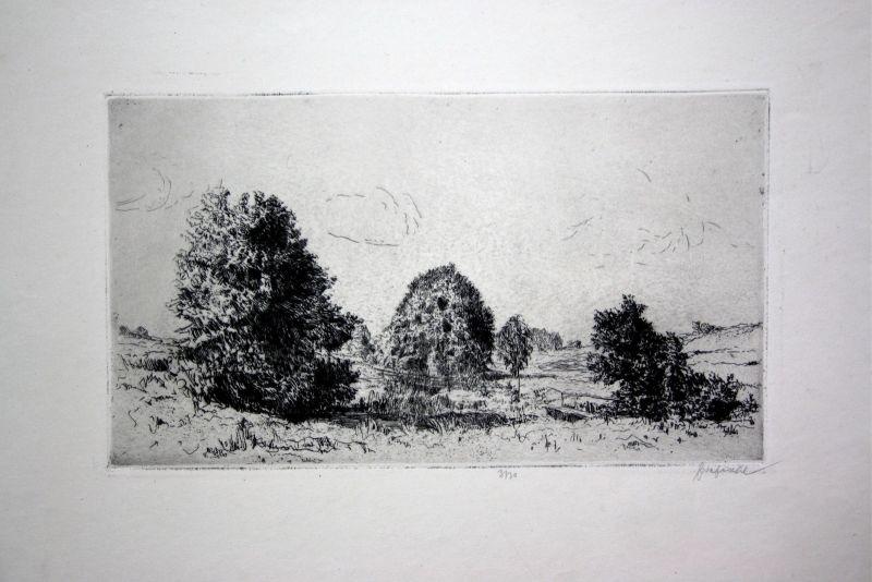Zellertal Bayern Radierung etching Ansicht view signiert signed Fischl um 1920