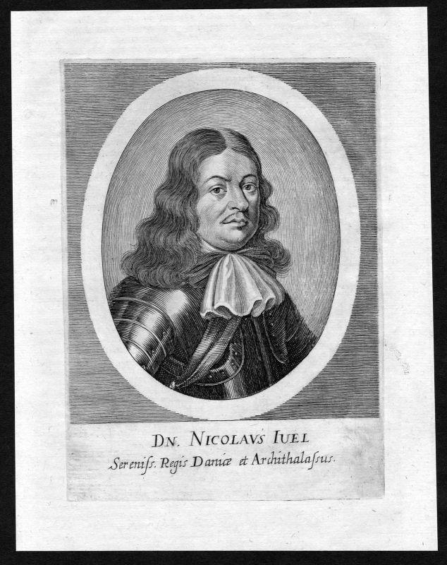 Ca. 1690 Niels Juel Danmark Norge Admiral Portrait Kupferstich antique print