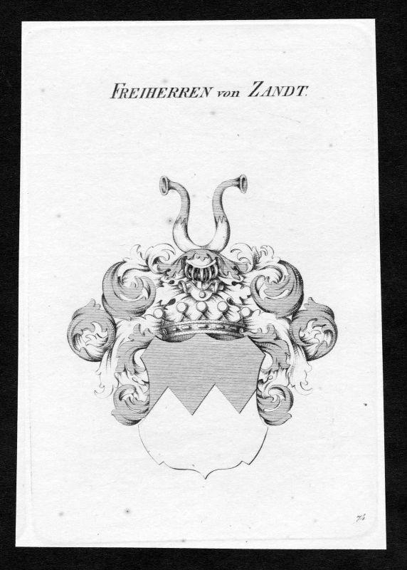 Ca. 1820 Zandt Wappen Adel coat of arms Kupferstich antique print heraldry