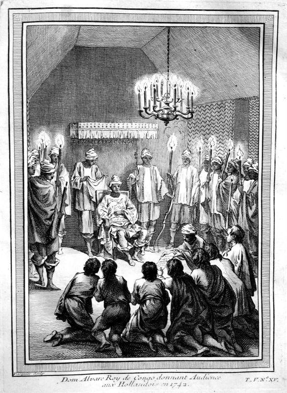Ca. 1750 Congo Kongo king König Ansicht view Kupferstich antique print