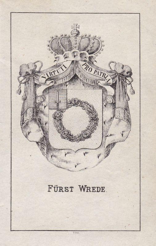 Ca. 1840 Wrede Bayern Bavaria Wappen heraldry Heraldik coat of arms Adel