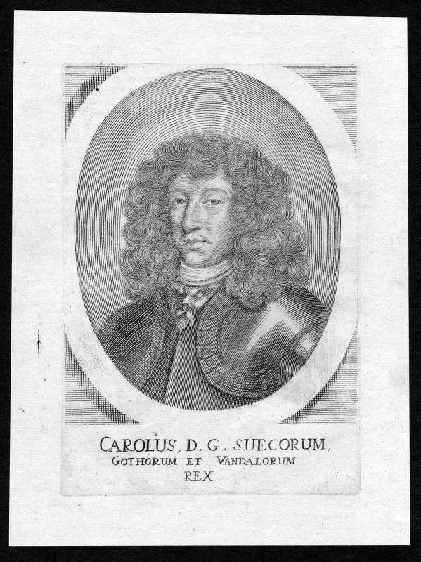 Ca. 1690 Karl X Gustav Sverige Sweden Portrait Kupferstich antique print