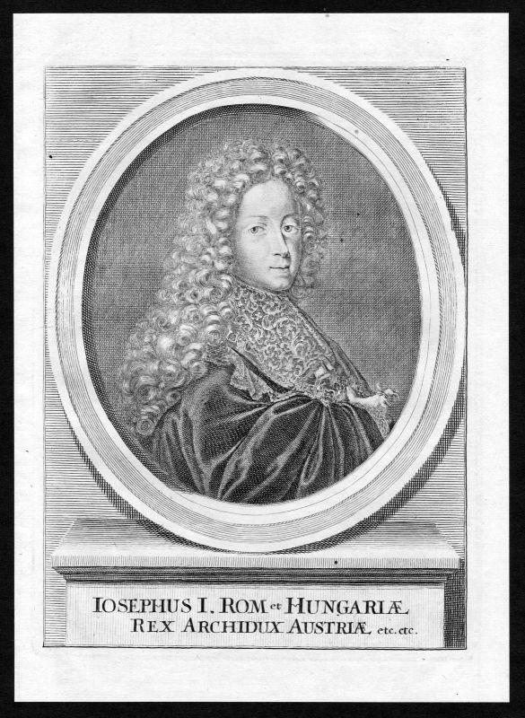 Ca. 1690 Joseph I. HRR Hungary Österreich Portrait Kupferstich antique print