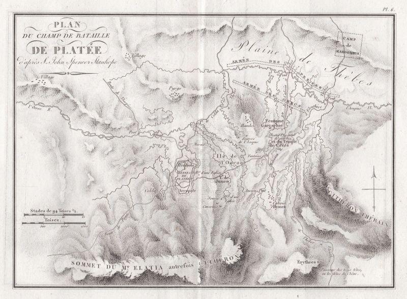 1820 Thiva Schlacht battle Greece Griechenland Karte map Kupferstich engraving