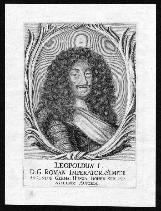 Ca. 1690 Leopold I HRR Roman Emperor Portrait Kupferstich antique print