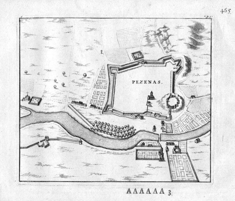 1666 - Pezenas Herault Languedoc-Roussillon France gravure estampe Kupferstich