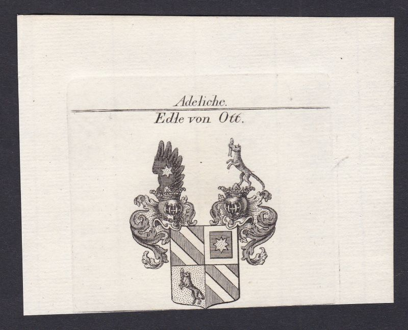 1820 Ott Wappen Adel coat of arms heraldry Heraldik Kupferstich antique print