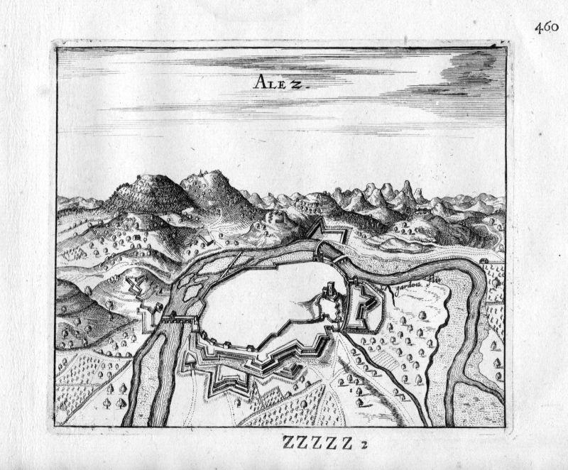 1666 - Ales Gard Frankreich France gravure estampe Kupferstich