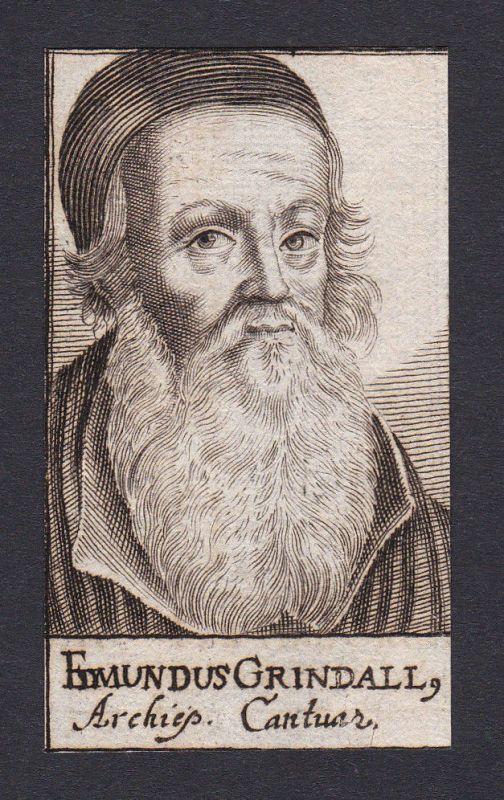 17. Jh. - Edmund Grindal / bishop Bischof Canterbury Portrait Kupferstich