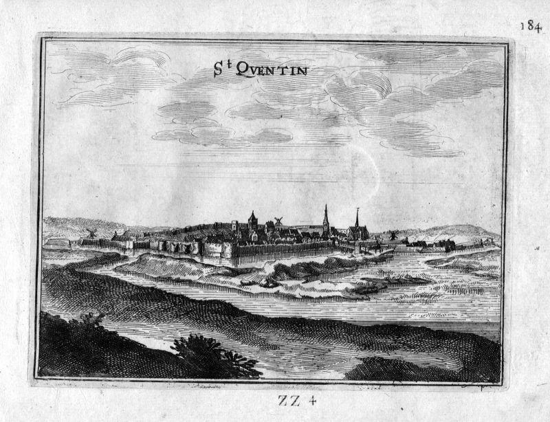 1666 Saint-Quentin Aisne vue Frankreich France gravure estampe Kupferstich