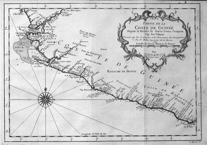 1746 Guinea Afrika Africa coast Küste Karte map Kupferstich Bellin antique print