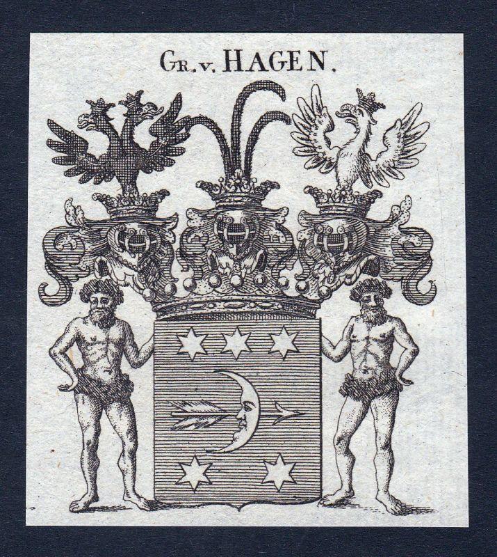 1820 Hagen Nordrhein-Westfalen Wappen Adel coat of arms Kupferstich engraving