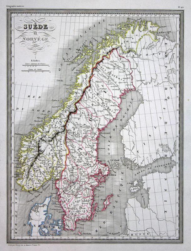 1837 Suede Svergie Schweden Norwegen Norvege Norway map Karte carte Kupferstich