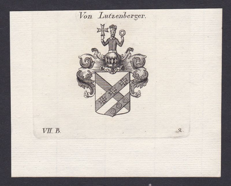 1820 Lutzenberger Wappen Adel coat of arms Heraldik Kupferstich antique print
