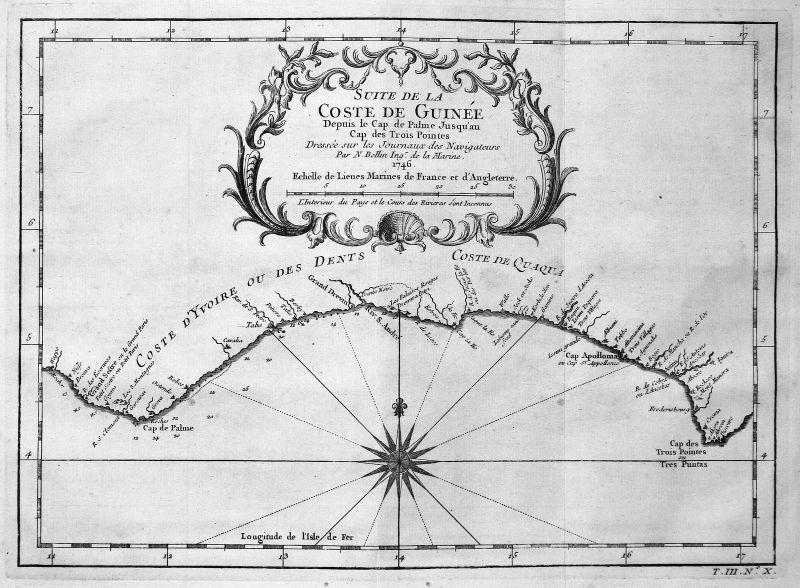 1746 Guinea Afrika Africa coast Küste Karte map Kupferstich antique print Bellin