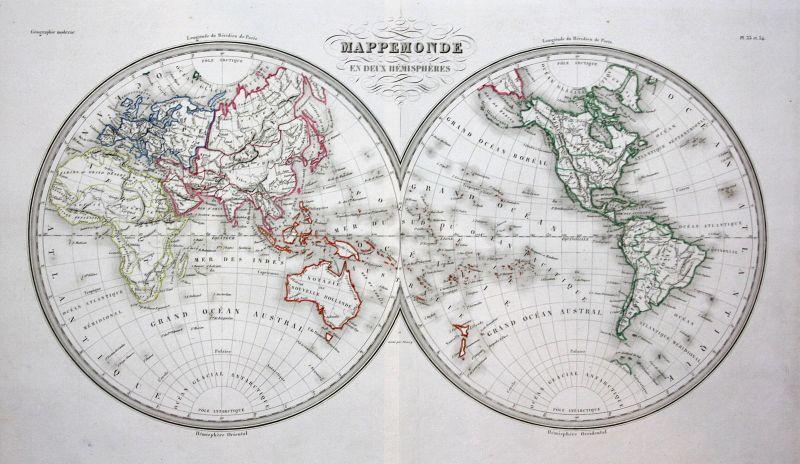Hemisphäre Welt world Monde Ocean Ozean Kontinent Continent map Karte carte