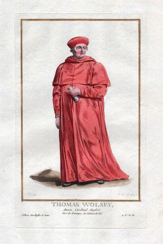 1779 Thomas Wolsey cardinal York Portrait costumes antique print Duflos