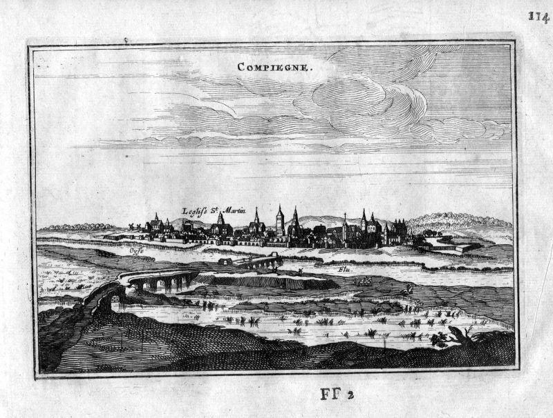 1666 Compiegne Oise vue Frankreich France gravure estampe Kupferstich