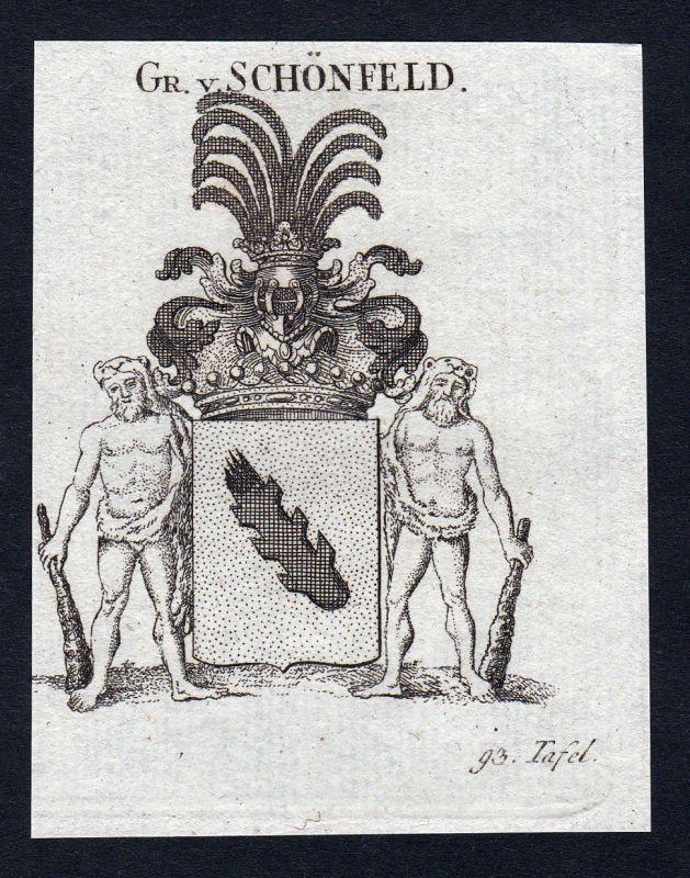 Schönfeld Schönfeldt Sachsen Meißen Wappen coat of arms Kupferstich engraving