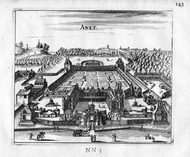 1666 - Chateau Anet Eure-et-Loir Frankreich France gravure estampe Kupferstich